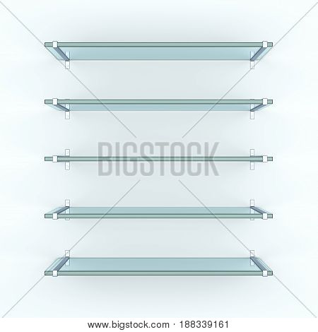 Glass shelves on light grey background. 3d illustration. Template for your design