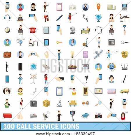 100 call service icons set in cartoon style for any design vector illustration