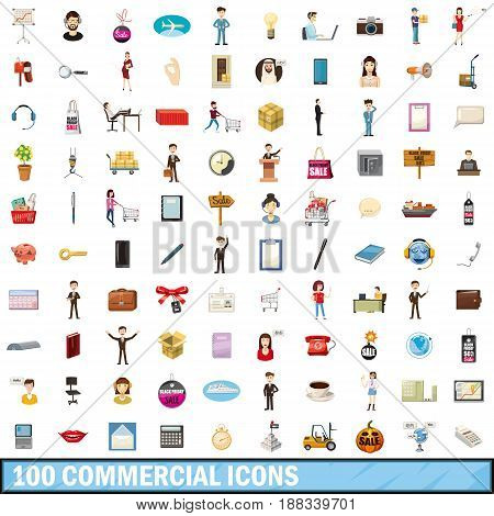 100 commercial icons set in cartoon style for any design vector illustration