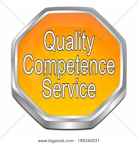 orange Quality Competence Service Button - 3D illustration
