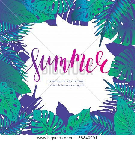 Summer party jungle flyer. Palm leaves illustration. Tropical holiday background.