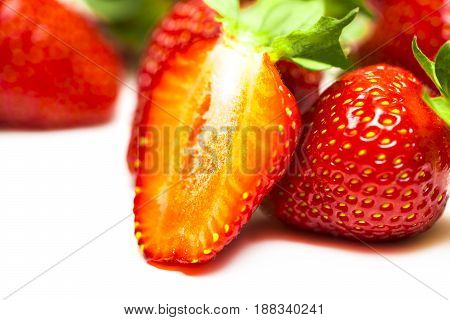 A Set Of Fresh Strawberry Isolated On White Background
