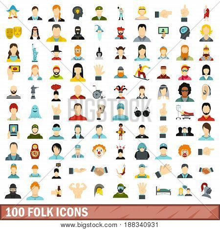 100 folk icons set in flat style for any design vector illustration