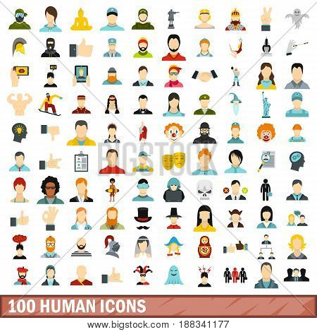 100 human icons set in flat style for any design vector illustration