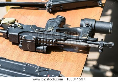 Samara Russia - May 27 2017: Russian firearms. Submachine gun PP-2000