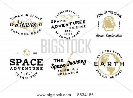 Space logotypes in vintage style with objects: spacesuit, space ship, Earth. Space journey badges for branding, personal projects, thematic events and more.