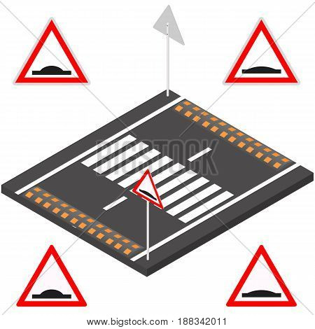 Speed bump on the road segment. Sleeping police sign on a white background. Flat 3d isometric style vector illustration.