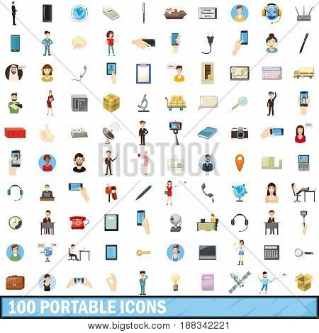 100 portable icons set in cartoon style for any design vector illustration