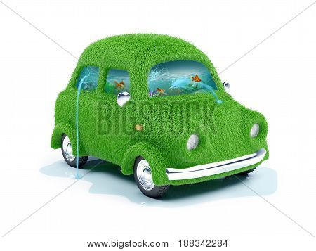 Green grassy eco car with aquarium inside. 3d illustration