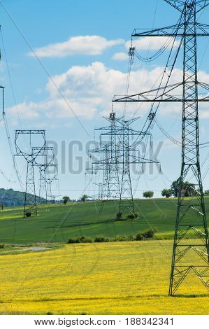 Pillars of high voltage in the Czech landscape. Electricity distribution
