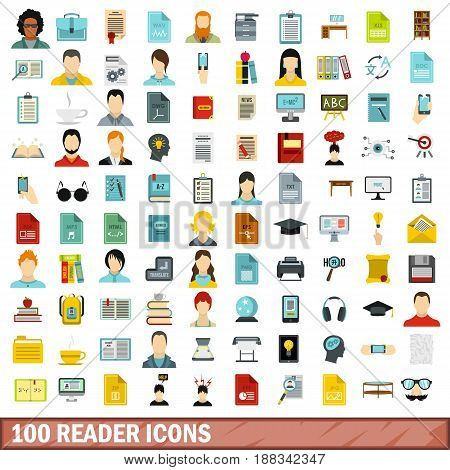 100 reader icons set in flat style for any design vector illustration