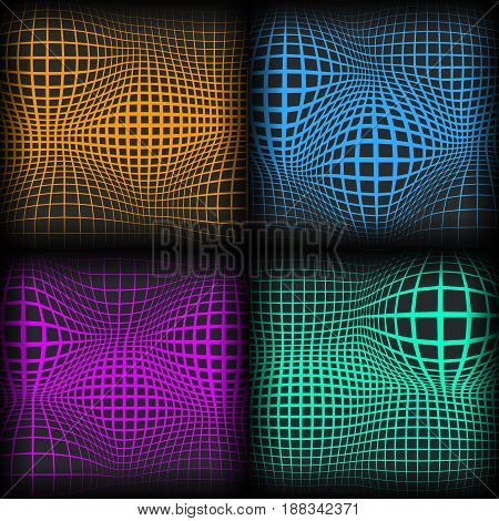 Set of colored abstract background with half tone effects. Bloated dots textures vector illustration.