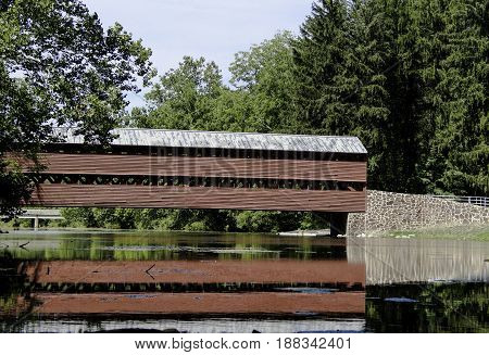 Sach's Road Covered Bridge in Gettysburg Pennsylvania is a historic covered bridge that was used by both the North and the South during the Civil War battle.