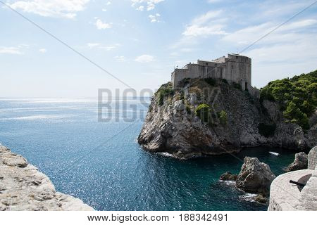 Dubrovnik. Dalmatia. Croatia. Beautiful view of the sea and ancient fortress. Fascinating tourist destination.