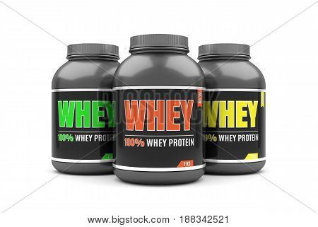 Whey protein on white background. 3D illustration