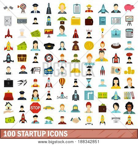 100 startup icons set in flat style for any design vector illustration