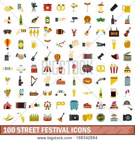 100 street festival icons set in flat style for any design vector illustration
