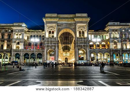MILAN, ITALY - MAY 15, 2017: The Galleria Vittorio Emanuele II on the Piazza del Duomo (Cathedral Square) at night. This gallery is one of the world's oldest shopping malls.
