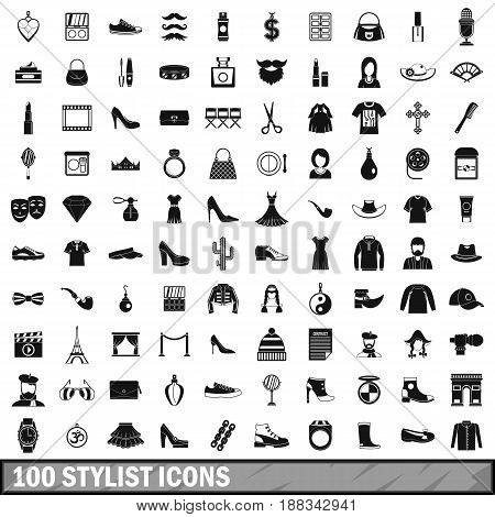 100 stylist icons set in simple style for any design vector illustration