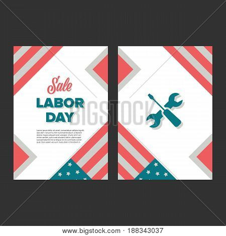 Labor day banner in vintage style with usa flag
