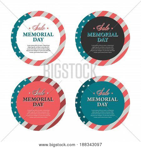 Memorial day banners and stickers in vintage style