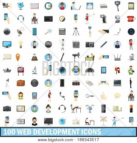 100 web development icons set in cartoon style for any design vector illustration