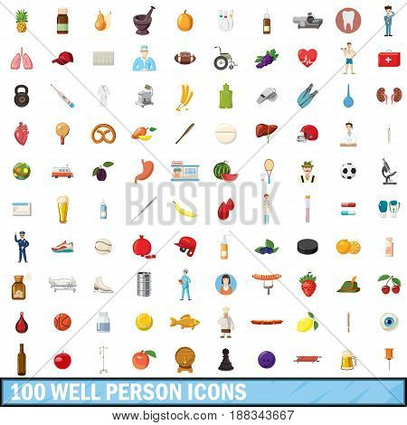 100 well person icons set in cartoon style for any design vector illustration