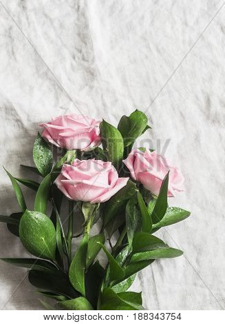 Pink roses on a light background. Top view free space for text