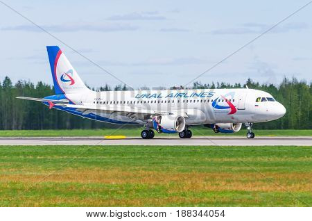 Airbus A319 Ural Airlines, Airport Pulkovo, Russia Saint-petersburg May 2017.