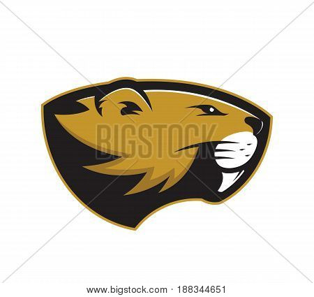 Clipart picture of a beaver head cartoon mascot logo character poster