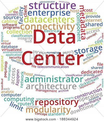 Data Center Word Cloud Text Illustration in shape of Server Rack. Computer Server keyword  tags isolated vector. Transparent.