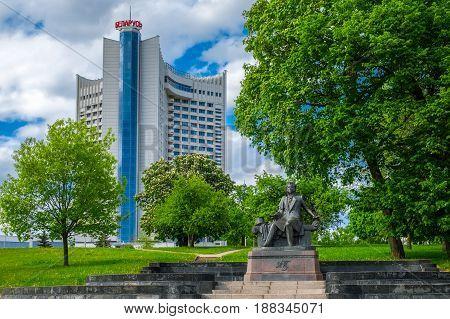Minsk, Belarus - May 24, 2017: Hotel Belarus And Sculpture Of Alexander Pushkin, Famous Poet. Minsk,