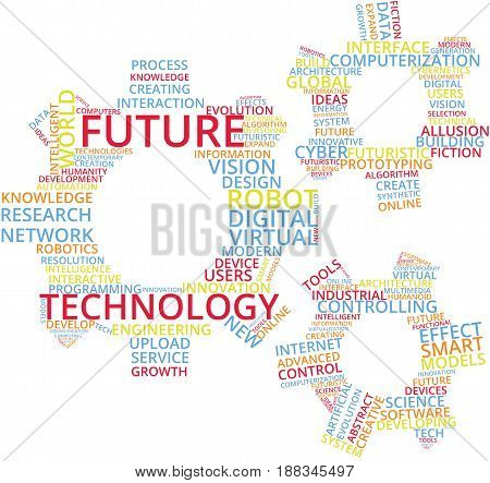 Future Technology Word Cloud Text Illustration in shape of Gear wheels. Hi-tech digital technology and engineering keyword tags isolated vector. Transparent.