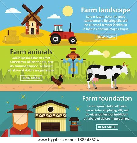 Farm landscape banner horizontal concept set. Flat illustration of 3 farm landscape tools vector banner horizontal concepts for web.