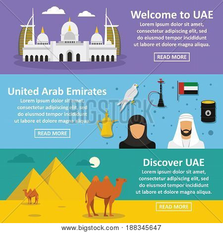 United Arab Emirates travel banner horizontal concept set. Flat illustration of 3 United Arab Emirates travel vector banner horizontal concepts for web.