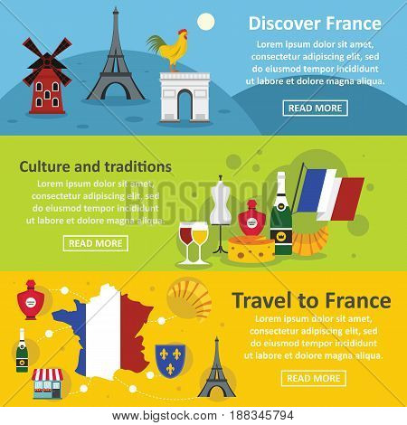 France travel banner horizontal concept set. Flat illustration of 3 France travel vector banner horizontal concepts for web.