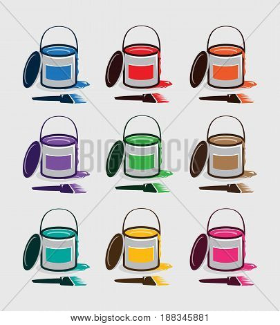 set of paint buckets included : paint bucket, brush, and paint drop off with various colors : blue, red, orange, purple, green, brown, teal, yellow, pink.