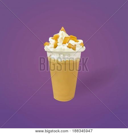 Caramel Frozen Milk with Whipped Cream Vector, Illustration