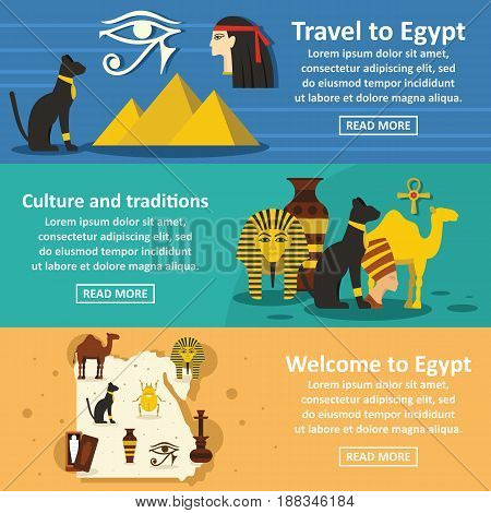 Egypt travel banner horizontal concept set. Flat illustration of 3 Egypt travel vector banner horizontal concepts for web.