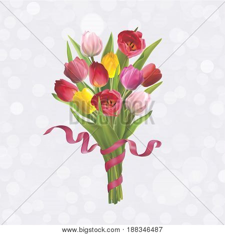 Beautiful bouquet of colorful tulips. Background for postcard on 8 March Mothers Day Birthday Spring Sale and other. Vector illustration in EPS10 format
