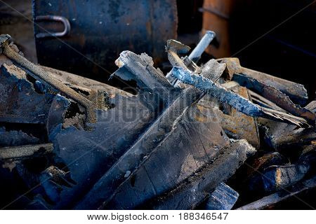 A lot of pieces of metal, waste foundry, marriage and scrub
