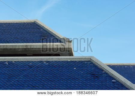 Old blue roof of Thai temple,roof of building