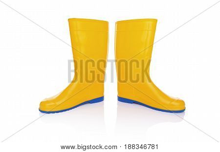 Yellow rubber boots. Isolated on white background.