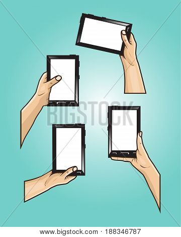 set of hands holds mini tablet with different styles