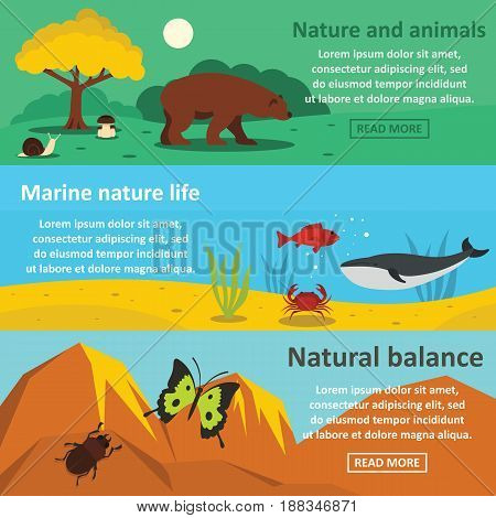 Nature animals banner horizontal concept set. Flat illustration of 3 nature animals vector banner horizontal concepts for web.