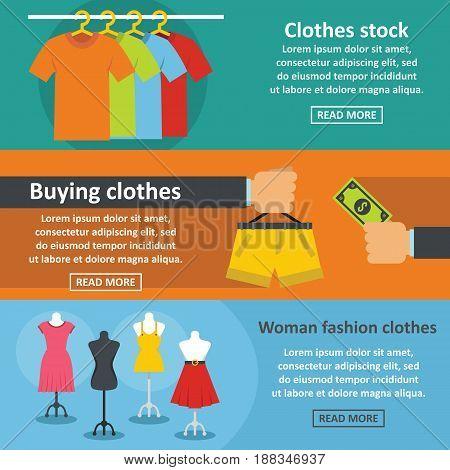 Clothes fashion banner horizontal concept set. Flat illustration of 3 clothes fashion vector banner horizontal concepts for web.