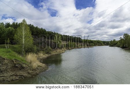 Spring landscape with a view of the lake. Russia, Siberia, the Novosibirsk Region.