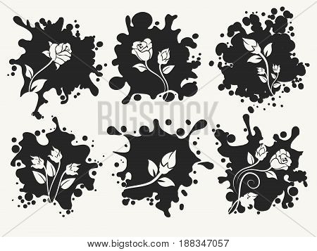 Vector splashes shape silhouettes with desorative roses. Beautiful fashion spot labels