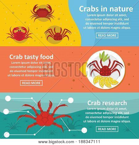 Crab nature banner horizontal concept set. Flat illustration of 3 crab nature vector banner horizontal concepts for web.