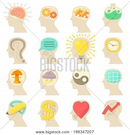 Human head logos icons set. Cartoon illustration of 16 Human head logos vector icons for web